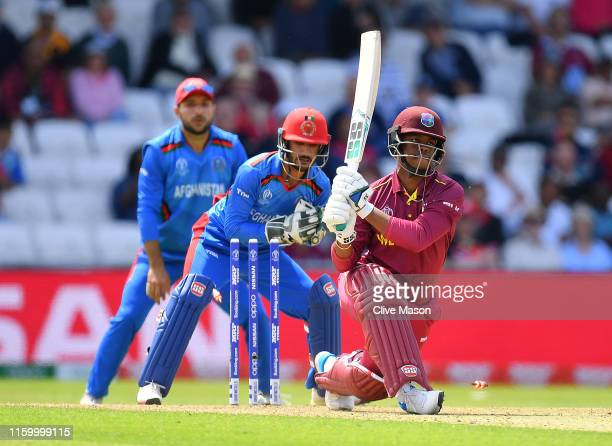 Shimron Hetmyer of West Indies survives a stumping attempt by Ikram Ali Khil of Afghanistan during the Group Stage match of the ICC Cricket World Cup...