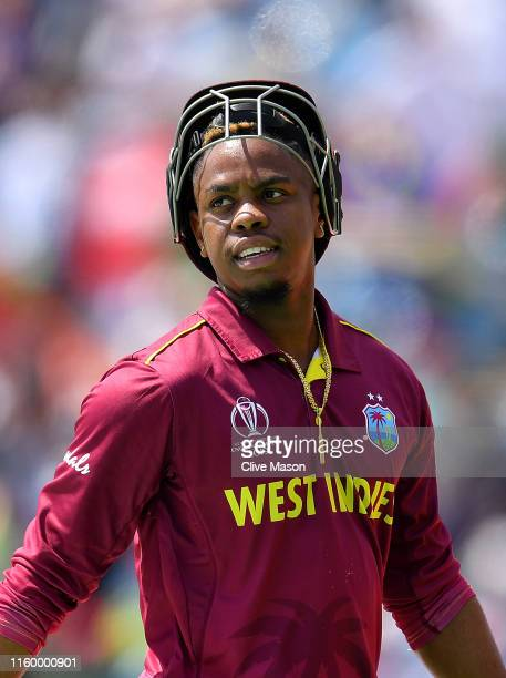 Shimron Hetmyer of West Indies walks off after being dismissed off the bowling of Dawlat Zadran of Afghanistan during the Group Stage match of the...