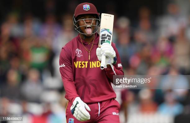 Shimron Hetymer of West Indies reacts after surviving a run out chance during the Group Stage match of the ICC Cricket World Cup 2019 between West...