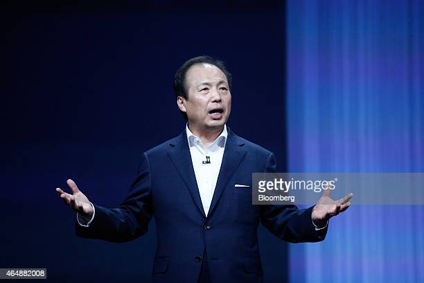 JK Shin chief executive officer of Samsung Electronics Co speaks during the launch of the new Galaxy S6 smartphones at a news conference in Barcelona...