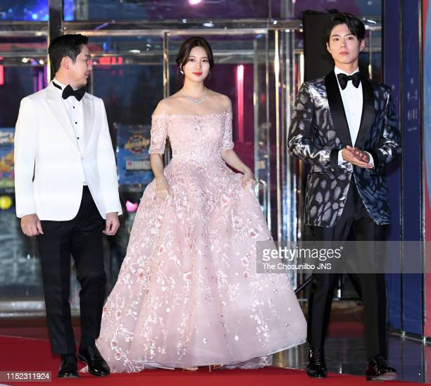 Shin Dong Yup, Actress and Singer Suzy, Actor Park Bo Gum attends the 55th Baeksang Arts Awards held at COEX in southern Seoul on May 1, 2019 in...