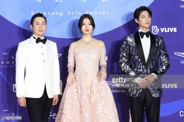 Shin Dong Yup Actress and Singer Suzy Actor Park Bo Gum attends the red carpet event of the 55th Baeksang Arts Awards held at COEX in southern Seoul...