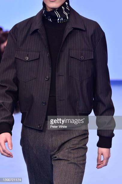 Shin Dongyeon, fashion detail, walks the runway during the Paul Smith Menswear Fall/Winter 2020-2021 show as part of Paris Fashion Week on January...