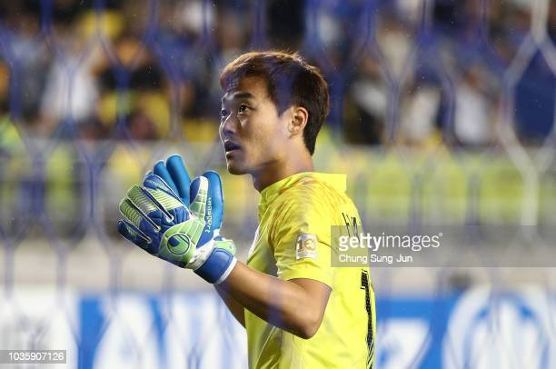 Shin HwaYong of Suwon Samsung Bluewings celebrates after saving a penalty from during the penalty shootout in the AFC Champions League Quarter Final...
