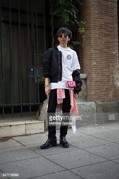 Shin is seen attending the Artistix with Andy Hilfiger Presentation wearing Gentle Monster glasses Delfindel Letters earing Shannon shirt Vetements...