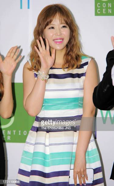 Shin Ji attends Jang YoonJung and Do KyungWan Wedding at 63 building convention center on June 28 2013 in Seoul South Korea