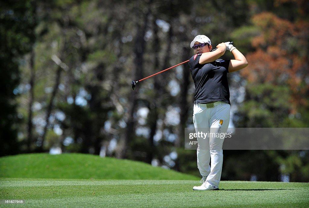 Shin Ji-Yai of South Korea plays a shot during the final round of the Women's Australian Open golf tournament in Canberra on February 17, 2013.
