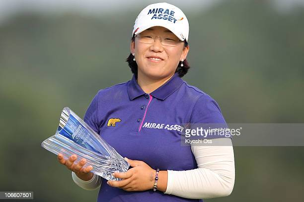 Shin Jiyai of South Korea poses with the trophy during an award ceremony after winning the Mizuno Classic at Kintetsu Kashikojima Country Club on...