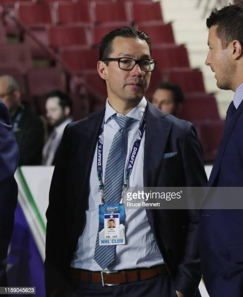 Shin Larsson of the San Jose Sharks attends the 2019 NHL Draft at the Rogers Arena on June 22 2019 in Vancouver Canada