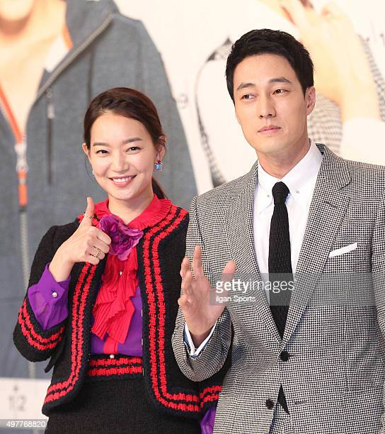 Shin Mina and So Jisub attend the KBS drama 'Oh My Venus' press conference at Amoris on November 11 2015 in Seoul South Korea