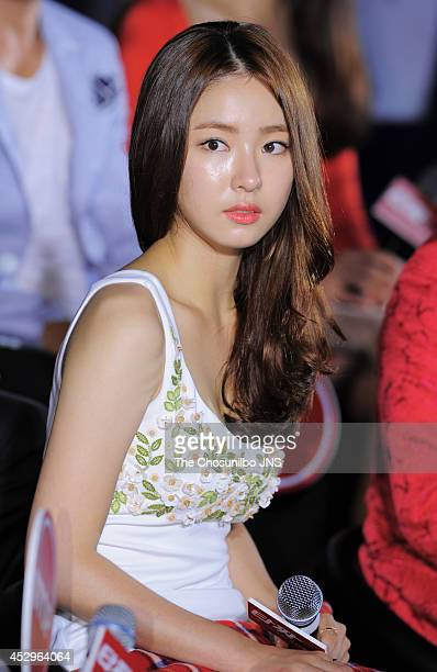 Shin SeGyeong attends the movie 'Tazza The High Rollers 2' press conference at Geondae Lotte cinema on July 29 2014 in Seoul South Korea