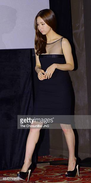 Shin SeGyeong poses for photographs during the movie 'Tazza The High Rollers 2' press premiere at Geondae Lotte Cinema on August 25 2014 in Seoul...