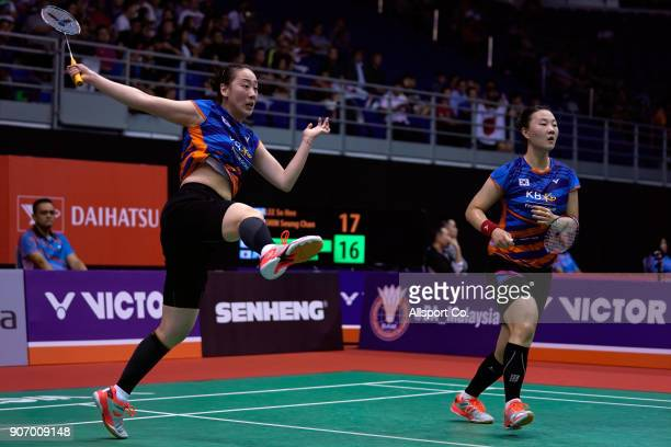 Shin Seung Chan and Lee Soo Hee of South Korea in action during the omen's Double Quarter Finals of the Perodua Malaysia Masters 2018 at Axiata Arena...