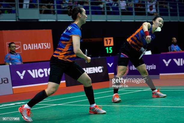 Shin Seung Chan and Lee Soo Hee of South Korea in action during the Women's Double Quarter Finals of the Perodua Malaysia Masters 2018 at Axiata...