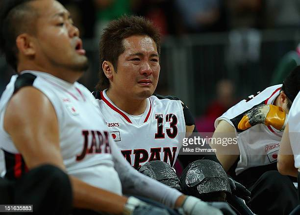 Shin Shimakawa of Japan reacts after losing the Bronze Medal match of Mixed Wheelchair Rugby against the United States on day 11 of the London 2012...