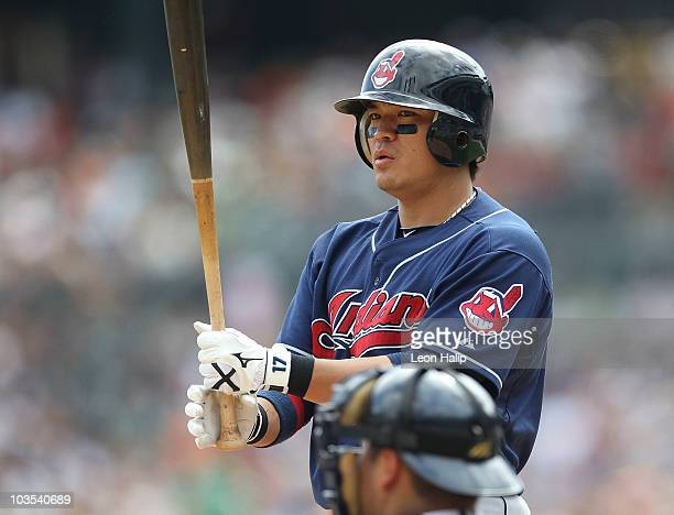 Shin Soo Choo of the Cleveland Indians bats during the fourth inning during the game against the Detroit Tigers on August 22 2010 at Comerica Park in...