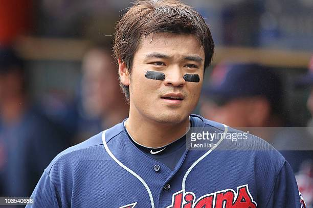 Shin Soo Choo of the Cleveland Indians hits a first inning home run off Justin Verlander of the Detroit Tigers during the game on August 22 2010 at...