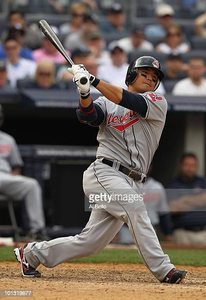 Shin Soo Choo of the Cleveland Indians in action against The New York Yankees during their game on May 29 2010 at Yankee Stadium in the Bronx Borough...