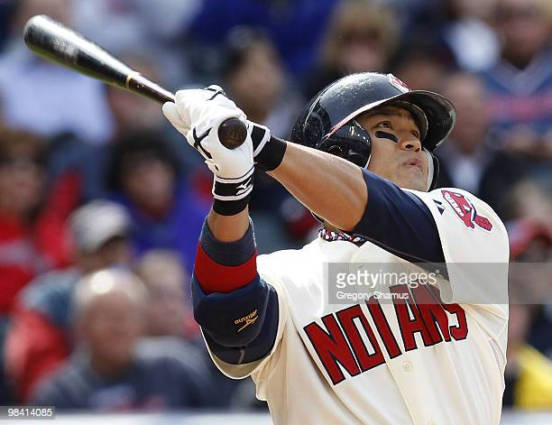 Shin Soo Choo of the Cleveland Indians watches his first inning home run while playing the Texas Rangers during Opening Day on April 12 2010 at...
