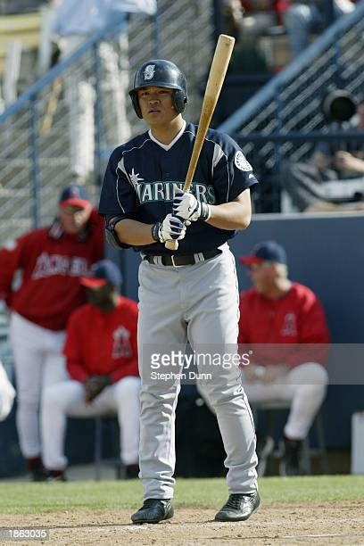 Shin Soo Choo of the Seattle Mariners gets set to bat against the Anaheim Angels in a spring training game on March 5 2003 at Tempe Diablo Stadium in...