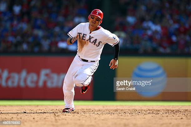 Shin Soo Choo of the Texas Rangers runs to third in the bottom of the third inning of Game 4 of the ALDS against the Toronto Blue Jays at Globe Life...