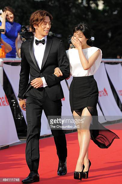 Shin SungRok and Jeong EunJee of A pink attend the 50th Paeksang Arts Awards at Grand Peace Palace in Kyung Hee University on May 27 2014 in Seoul...