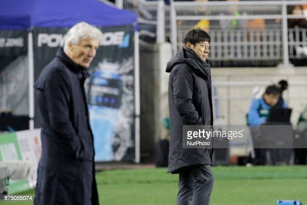 Shin Tae Yong of South Korea and Jose Pekerman of Colombia head coach in action during an KEB HANA BANK Invitational Friendly Match South Korea v...