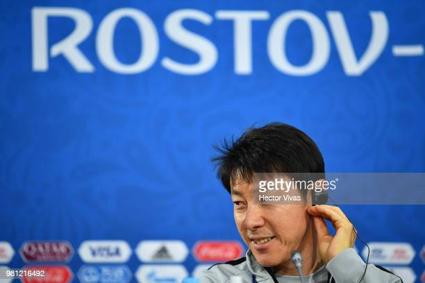 Shin TaeYong coach of South Korea gestures during a training and press conference ahead of the match against Mexico as part of FIFA World Cup Russia...