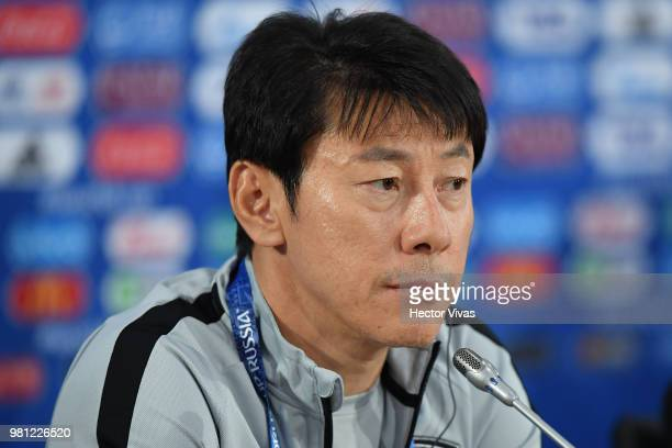 Shin TaeYong coach of South Korea looks on during a training and press conference ahead of the match against Mexico as part of FIFA World Cup Russia...