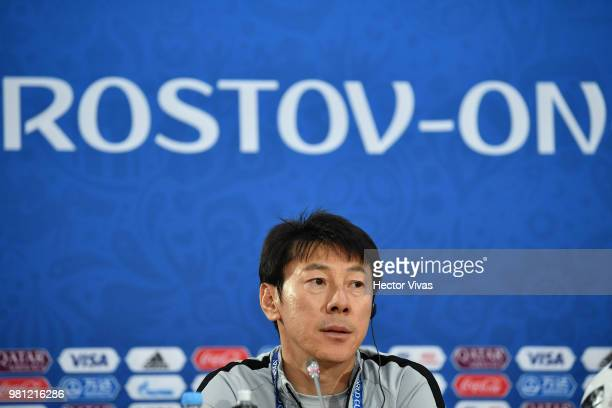 Shin TaeYong coach of South Korea speaks during a training and press conference ahead of the match against Mexico as part of FIFA World Cup Russia...