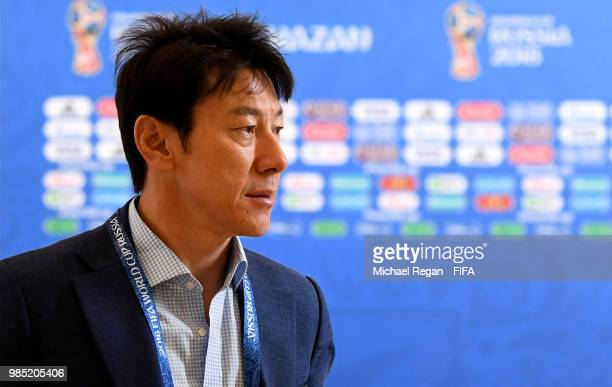 Shin TaeYong Manager of Korea Republic arrives at the stadium prior to the 2018 FIFA World Cup Russia group F match between Korea Republic and...