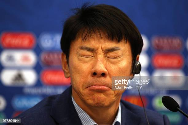 Shin TaeYong Manager of Korea Republic attends the post match press conference following the 2018 FIFA World Cup Russia group F match between Sweden...