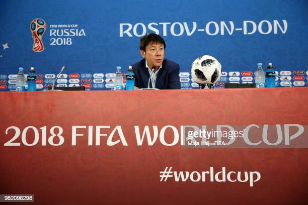 Shin TaeYong Manager of Korea Republic attends the post match press conference following the 2018 FIFA World Cup Russia group F match between Korea...