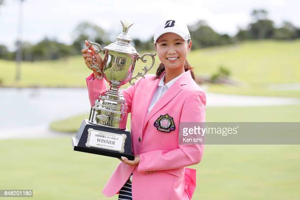 Shina Kanazawa of Japan celebrates after winning the game during the award ceremony of the Sanyo Shimbun Ladies Cup at the Tojigaoka Marine Hills...