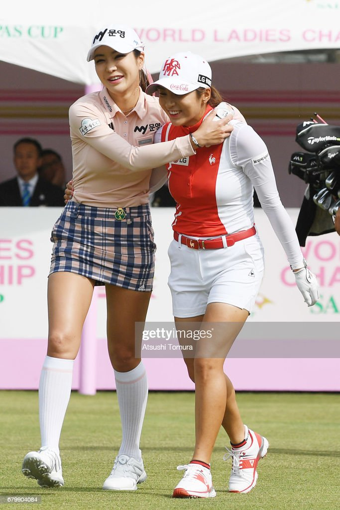 Shin-Ae Ahn of South Korea (L) and Bo-Mee Lee of South Korea (R) walk the 1st fairway during the final round of the World Ladies Championship Salonpas Cup at the Ibaraki Golf Club on May 7, 2017 in Tsukubamirai, Japan.