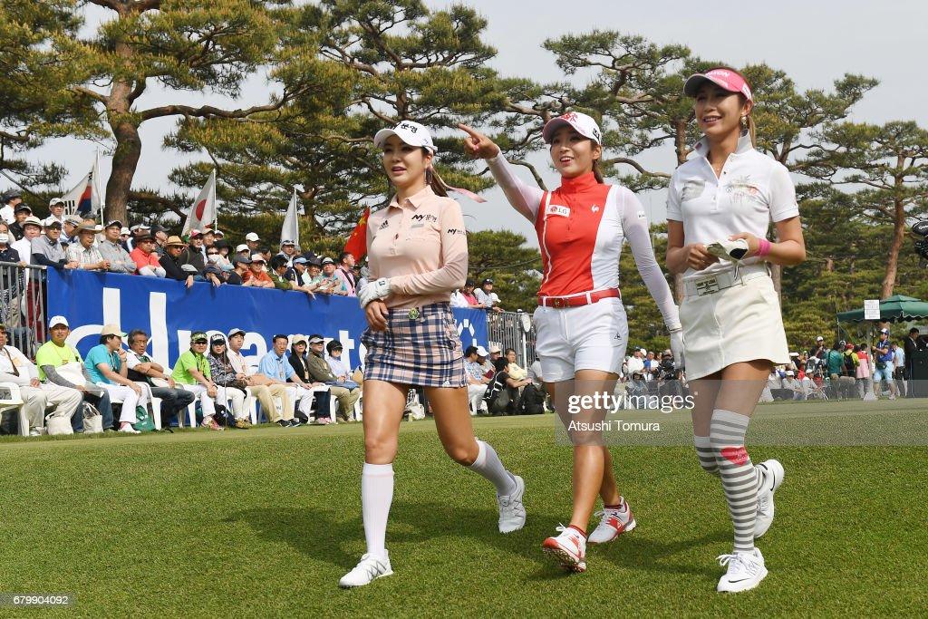 Shin-Ae Ahn of South Korea, Bo-Mee Lee of South Korea and Kumiko Kaneda of Japan walk the 1st fairway during the final round of the World Ladies Championship Salonpas Cup at the Ibaraki Golf Club on May 7, 2017 in Tsukubamirai, Japan.