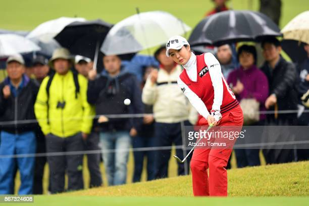 ShinAe Ahn of South Korea chips onto the 15th green during the second round of the Higuchi Hisako Ponta Ladies at the Musashigaoka Golf Course on...