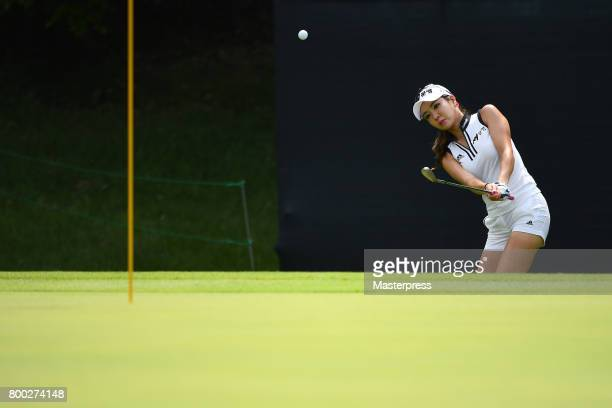 ShinAe Ahn of South Korea chips onto the 16th green during the third round of the Earth Mondamin Cup at the Camellia Hills Country Club on June 24...