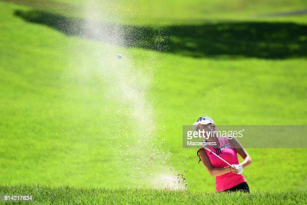ShinAe Ahn of South Korea chips onto the 18th green during the first round of the Samantha Thavasa Girls Collection Ladies Tournament at the Eagle...