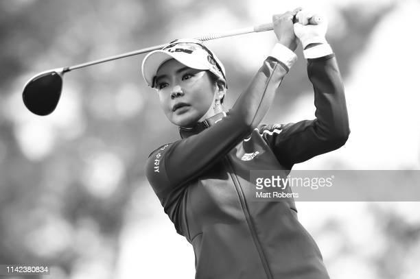 ShinAe Ahn of South Korea hits a tee shot on the 11th hole during the second round of the Studio Alice Women's Open at Hanayashiki Golf Club Yokawa...