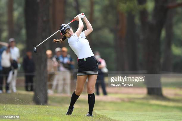 ShinAe Ahn of South Korea hits her second shot on the 18th hole during the first round of the World Ladies Championship Salonpas Cup at the Ibaraki...