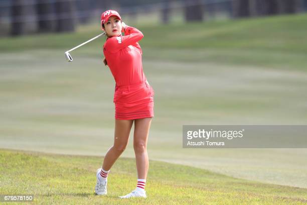 ShinAe Ahn of South Korea hits her second shot on the 2nd hole during the third round of the World Ladies Championship Salonpas Cup at the Ibaraki...