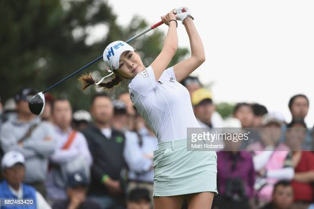 ShinAe Ahn of South Korea hits her tee shot on the 10th hole during the first round of the HokennoMadoguchi Ladies at the Fukuoka Country Club Wajiro...