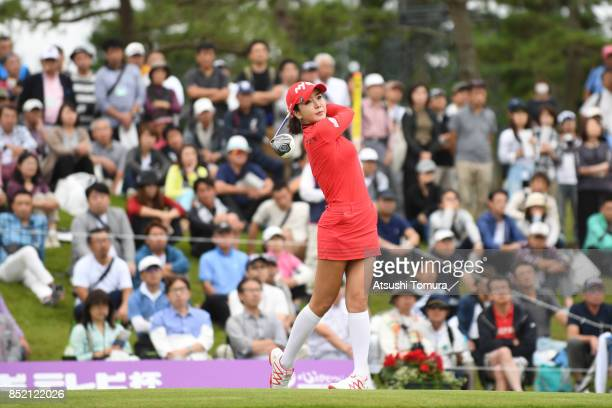 ShinAe Ahn of South Korea hits her tee shot on the 10th hole during the second round of the Miyagi TV Cup Dunlop Ladies Open 2017 at the Rifu Golf...