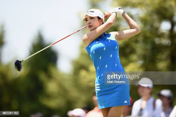 ShinAe Ahn of South Korea hits her tee shot on the 10th hole during the first round of the Resorttust Ladies at Kansai Golf Club on May 25 2018 in...