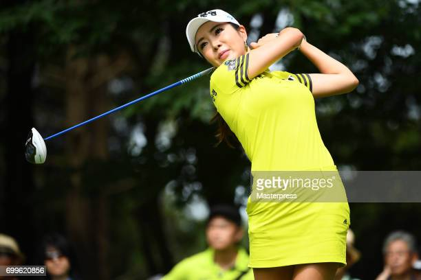 ShinAe Ahn of South Korea hits her tee shot on the 12th hole during the first round of the Earth Mondamin Cup at the Camellia Hills Country Club on...