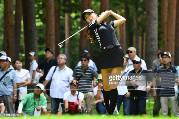 ShinAe Ahn of South Korea hits her tee shot on the 12th hole during the second round of the Daito Kentaku Eheyanet Ladies 2017 at the Narusawa Golf...