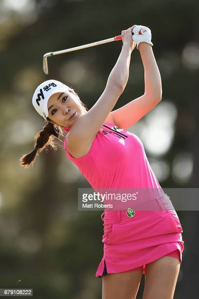 ShinAe Ahn of South Korea hits her tee shot on the 15th hole during the second round of the World Ladies Championship Salonpas Cup at the Ibaraki...