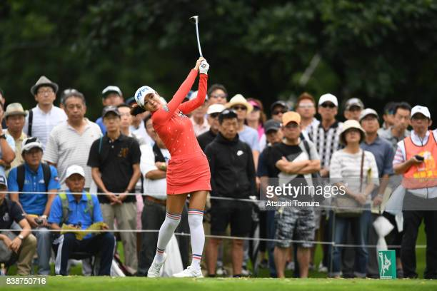 ShinAe Ahn of South Korea hits her tee shot on the 15th hole during the second round of the Nitori Ladies 2017 at the Otaru Country Club on August 25...