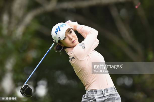 ShinAe Ahn of South Korea hits her tee shot on the 2nd hole during the first round of the 50th LPGA Championship Konica Minolta Cup 2017 at the Appi...